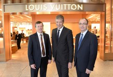 L - R: Brian Woodhead, Heathrow Commercial Director, Tom Meggle, MD of Louis Vuitton and Jonathan Coen, Heathrow Retail Director