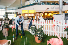 Heathrow and Pimm's unveil the first Crazy Croquet lawn at Terminal 2 to celebrate Great British summer pastimes