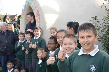 St. Michael and St. Martin Catholic Primary students celebrate adobe building
