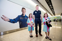 Tim Peake lands at Heathrow