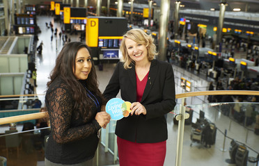 Living Wage - Heathrow Cheif People Officer Paula Stannett and Mamps Dhami, Senior Scheme Manager - Play Area (Wilson James)