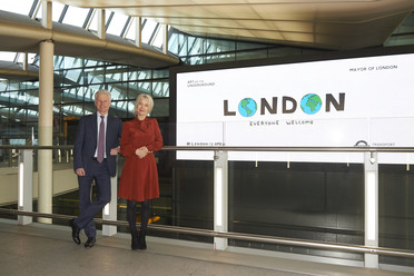 #LondonisOpen artwork with Deputy Mayor and Heathrow Chairman Lord Deighton and Justine Simons, Deputy Mayor of Culture.