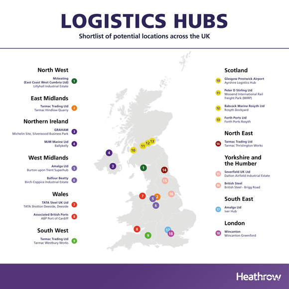 Heathrow Logistics hubs shortlist