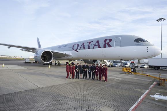 Qatar Airways' A350XWB Arrives in Heathrow